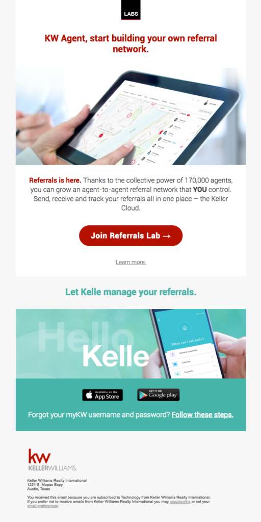 One-column email design template that's responsive for mobile devices