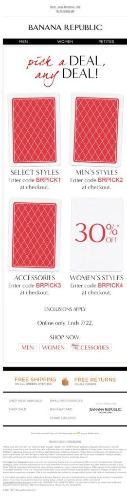 pick a deal, any deal! Banana Republic gamification email example