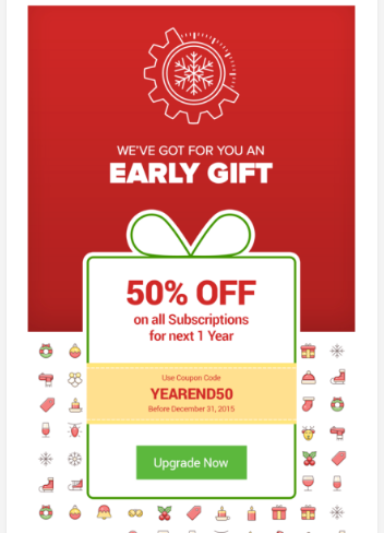 Promotional email example, Early Gift 50% Off