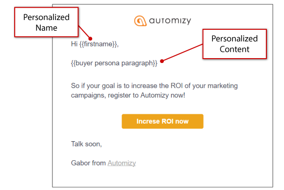 personalized content in email
