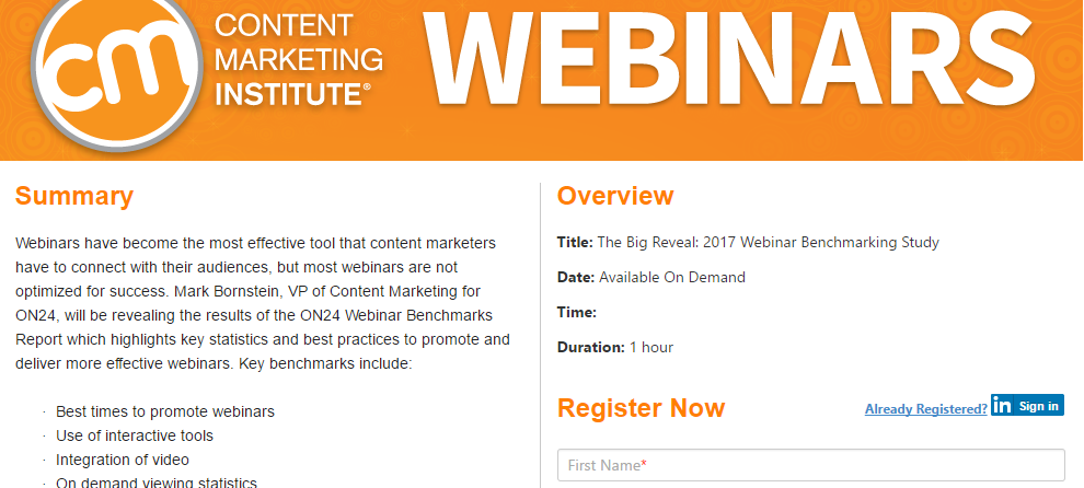 content marketing institute webinar