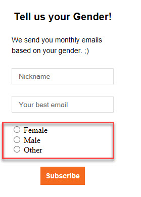 signup form there with radio buttons