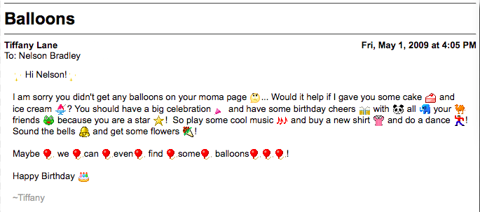 bad example of emoji use in email body