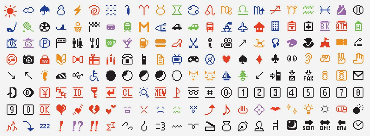 Collection of the first emojis developed by Docomo