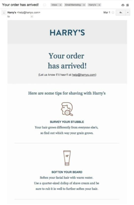 minimal email from Harrys