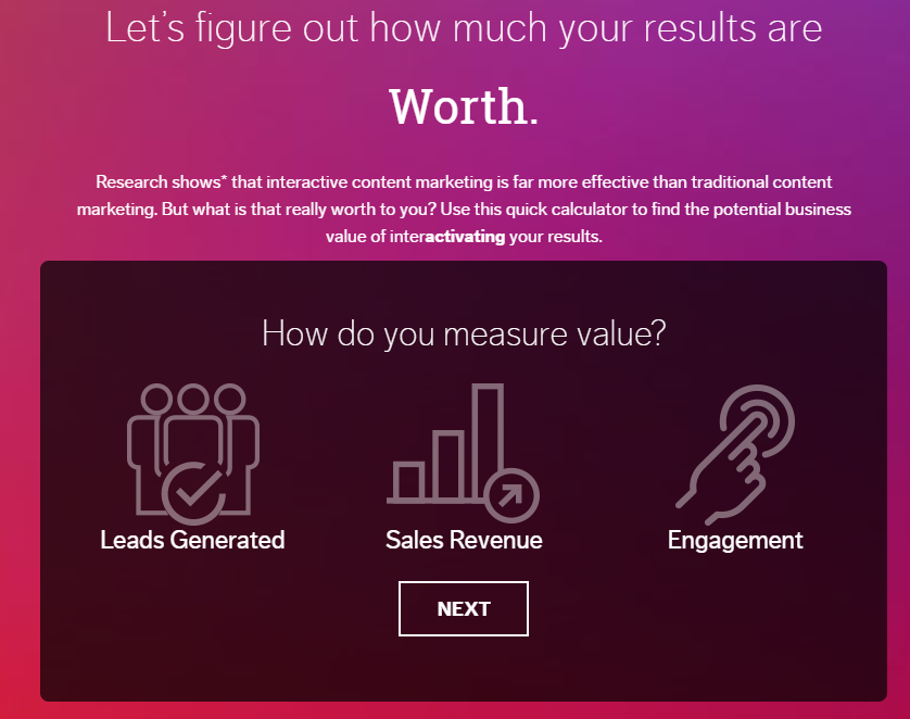 show value with a calculator to generate leads