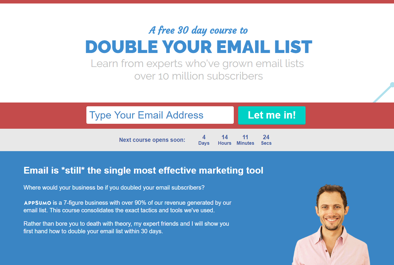 Sumo email 1k lead generation example landing page