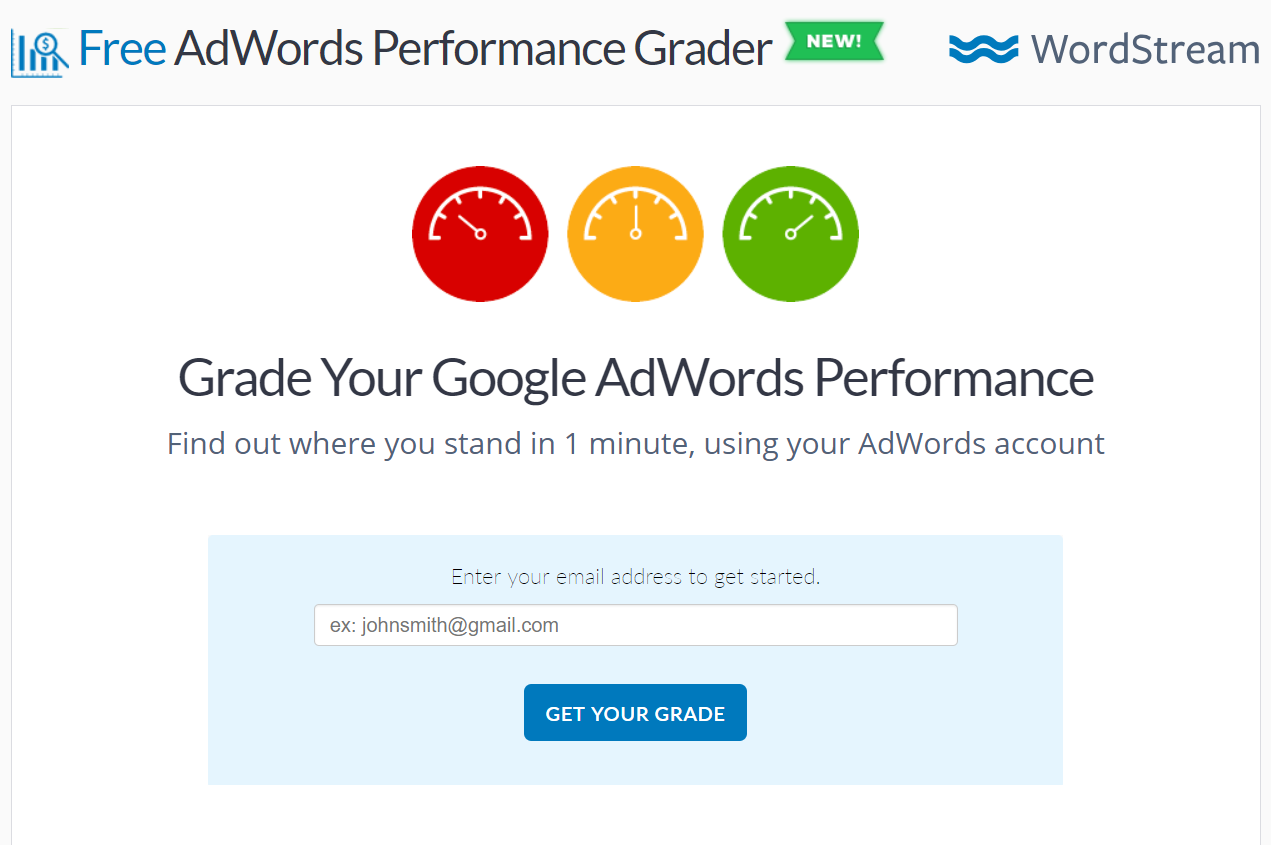 A simple 1 field lead generation form example from WordStream