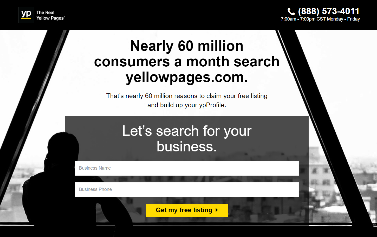 Yellow Pages landing page inspiration