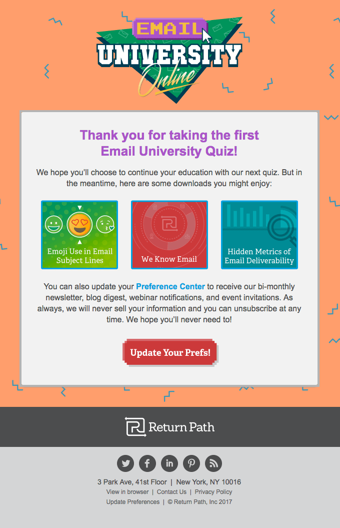 Email University Online gamification thank you autoresponder