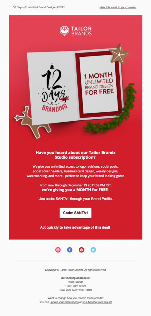 12 days of branding Tailor Brands