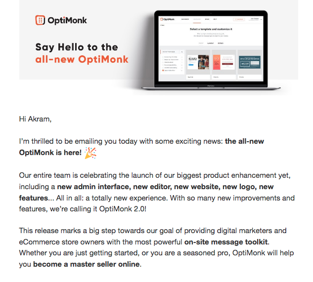 Say Hello to the all-new Optimonk email broadcast