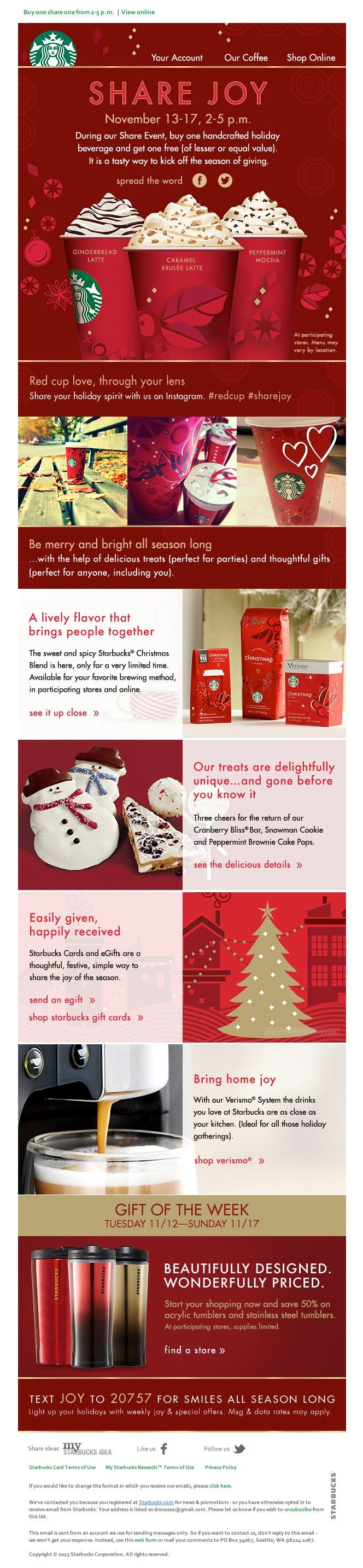 Share Joy, Starbucks holiday promotion email example