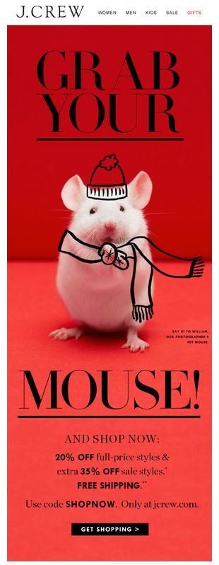 Grab your mouse! and shop now JCrew promotional Xmas email