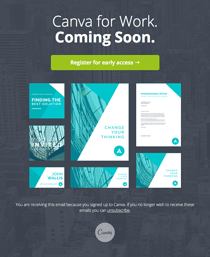 Canva for Work Coming Soon. teaser email sample