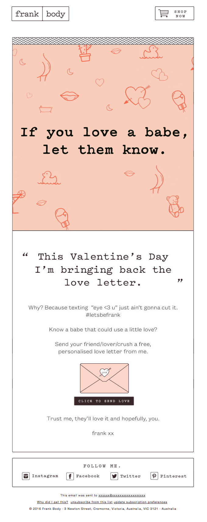 Frank Body love letter example