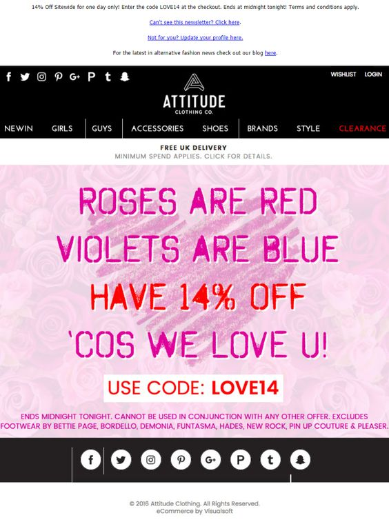 Poetic email copy and design for Valentine's day