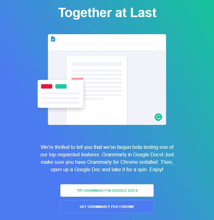 Together at Last Grammarly new plugin launch announcement email sample
