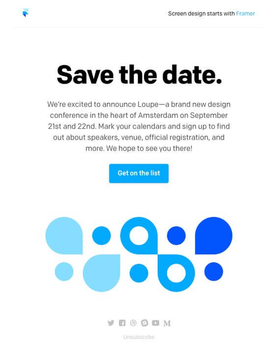Save the date. event announcement email