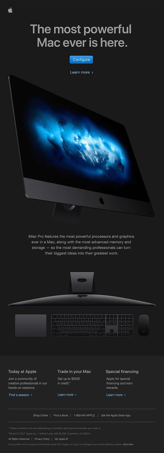 The most powerful Mac ever is here. Apple product launch email design