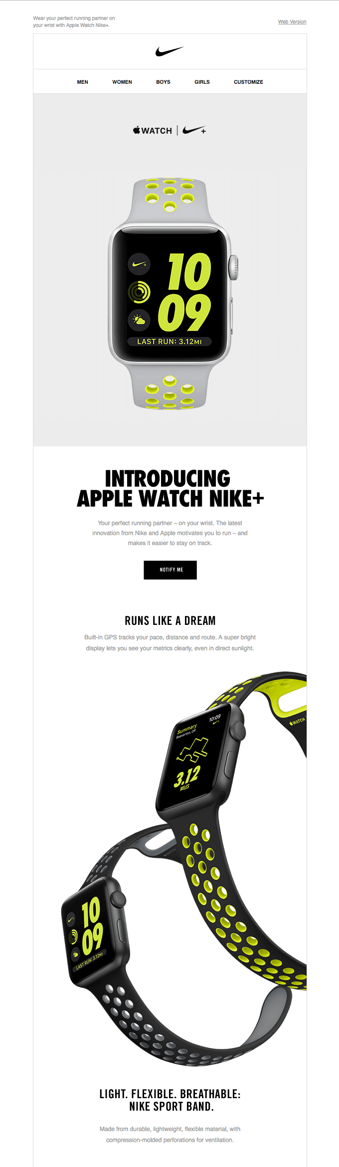Introducing Apple Watch Nike+ product launch email sample