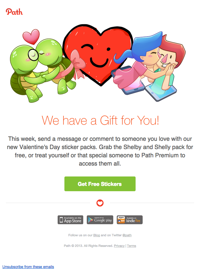 Path is celebrating valentine's day with this promotional sticker pack