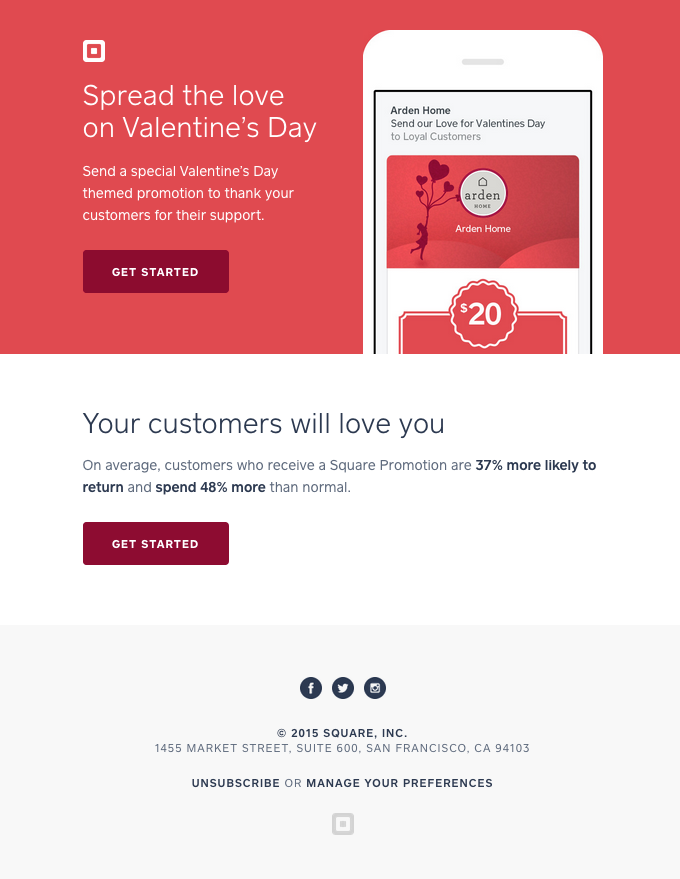 """Spread the love on Valentine's Day"" email design"