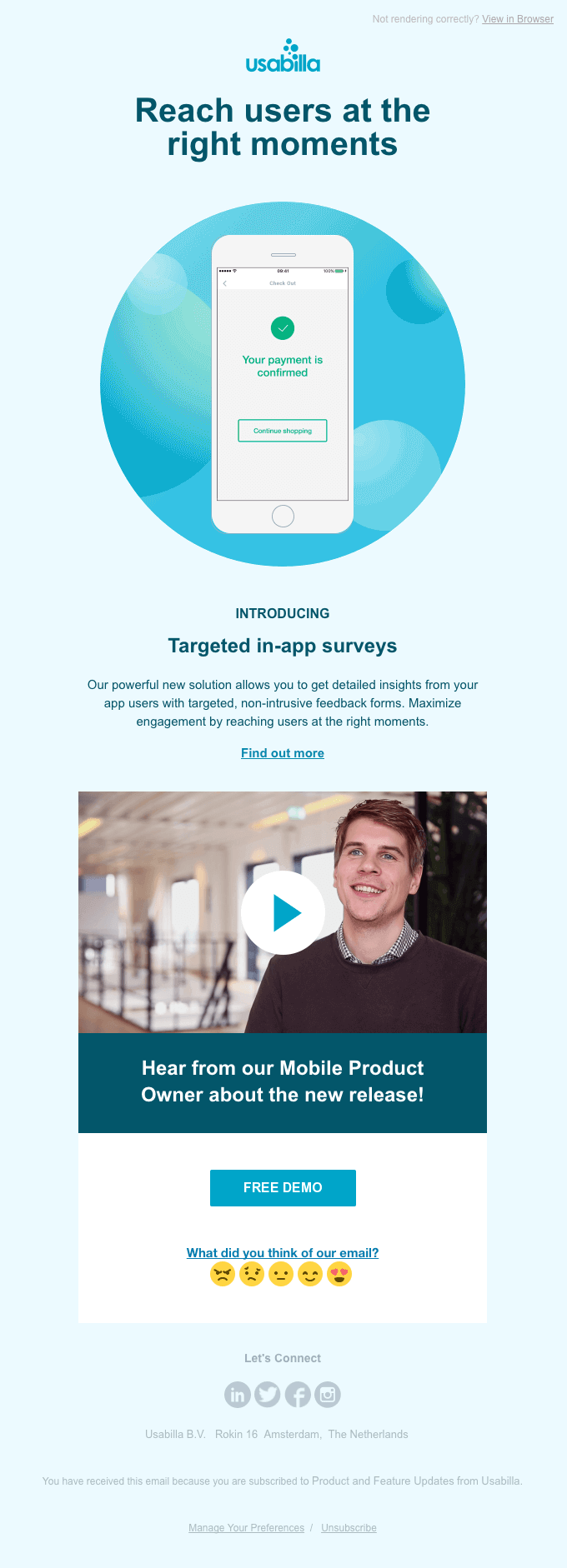 Introducing Targeted in-app surveys launch email template
