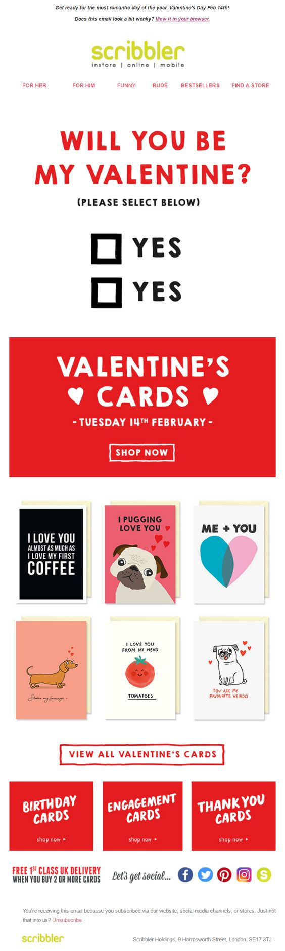 "Scribbler ""will you be my valentine?"" Valentine email design"