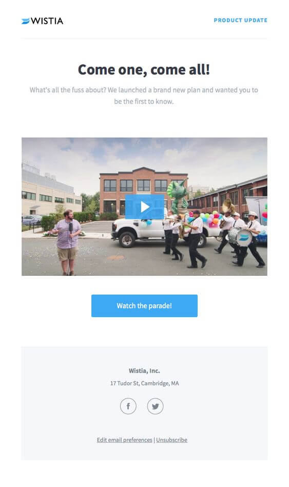 Come one, come all! Product launch email sample from Wistia