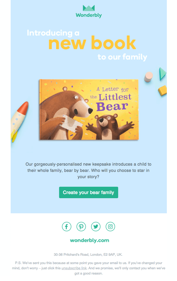Introducing a new book to our family new book release email sample