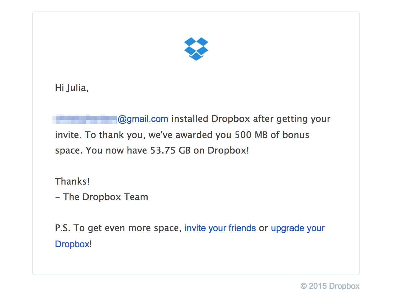 DropBoxs Thank You For Referral Email Shows Gratitude Their Users Who Referred A Friend Awarding Them With 500 MB Bonus Space
