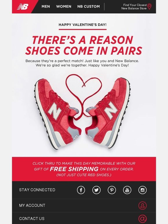 Free shipping New Balance Valentine's email design