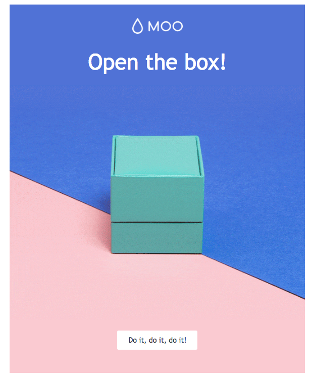 "MOO ""open the box"" email example"