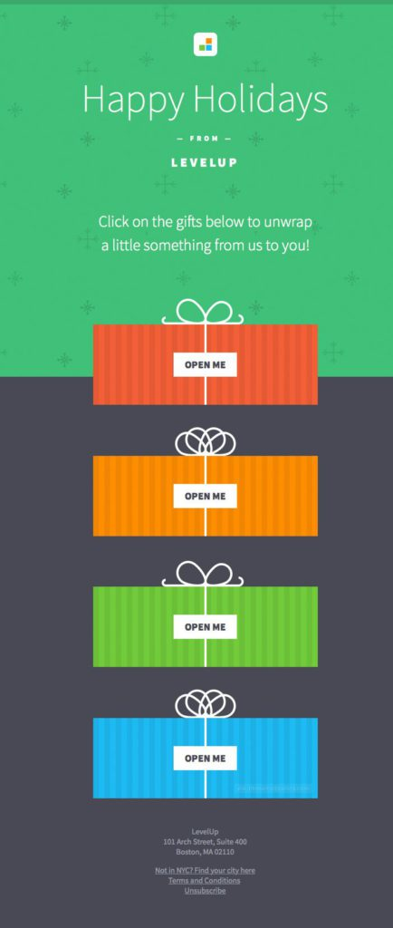 Happy Holidays from LevelUp, gift email template example
