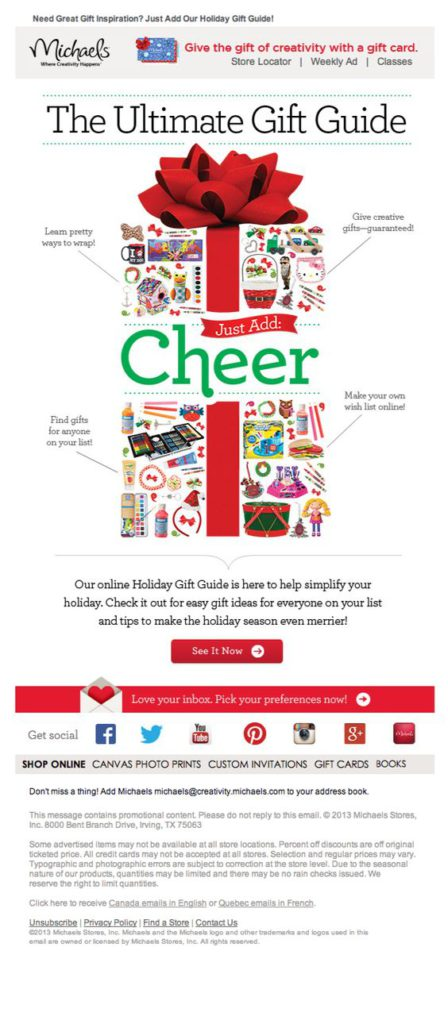 The Ultimate Gift Guide, Michaels Christmas email newsletter