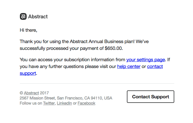 B2B confirmation email example Abstract