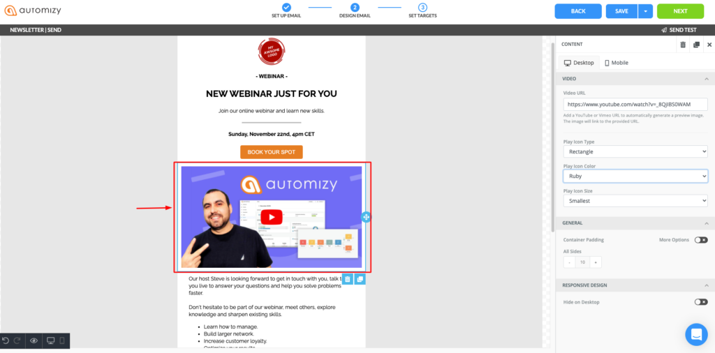 How to add a video in an announcement email campaign using Automizy