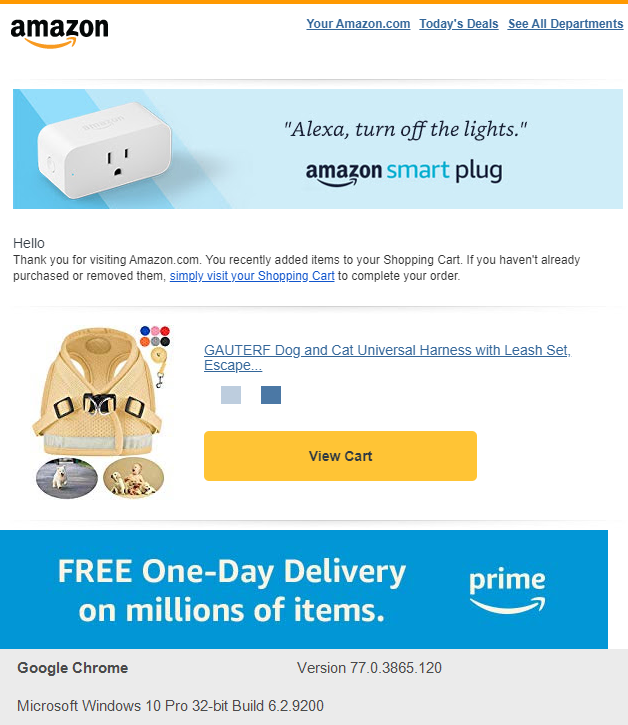 amazon Re-Engagement and Abandoned Shopping Cart Email Sequence sample