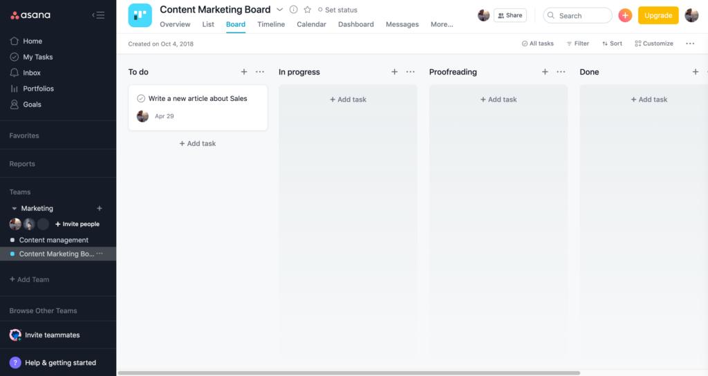 Asana marketing board example for SaaS marketing teams