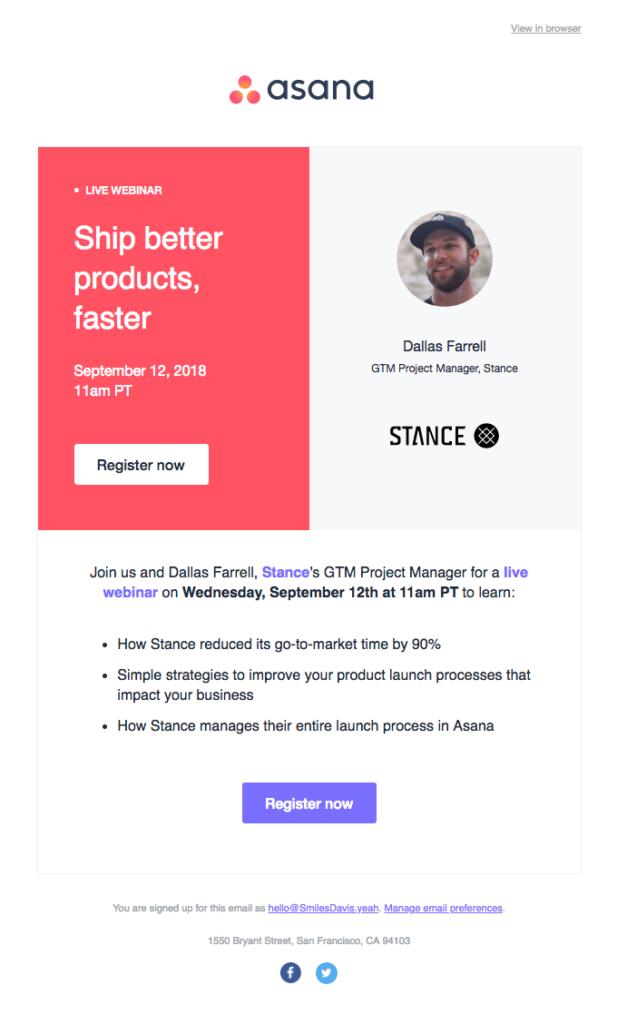 Asana webinar email reminder design