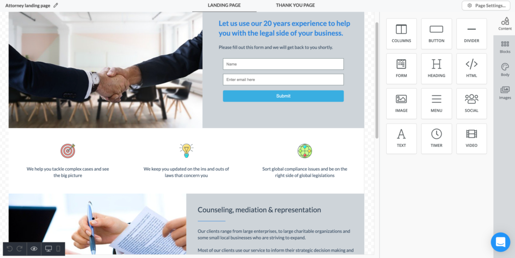Automizy landing page builder