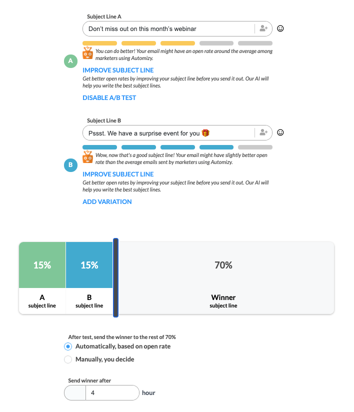 AB testing subject line variation in Automizy to send the best-performing one to contacts