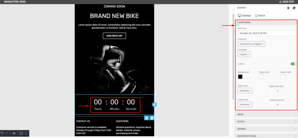How to customize a countdown timer in email design using Automizy
