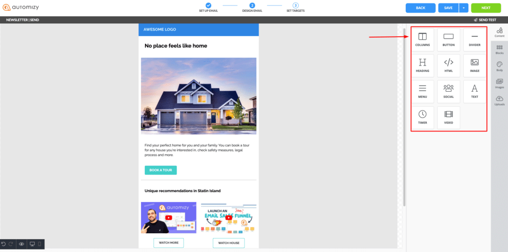 Email builder in Automizy