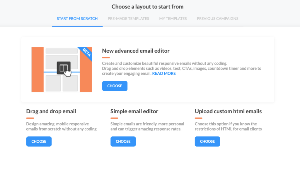 The available email editors in Automizy