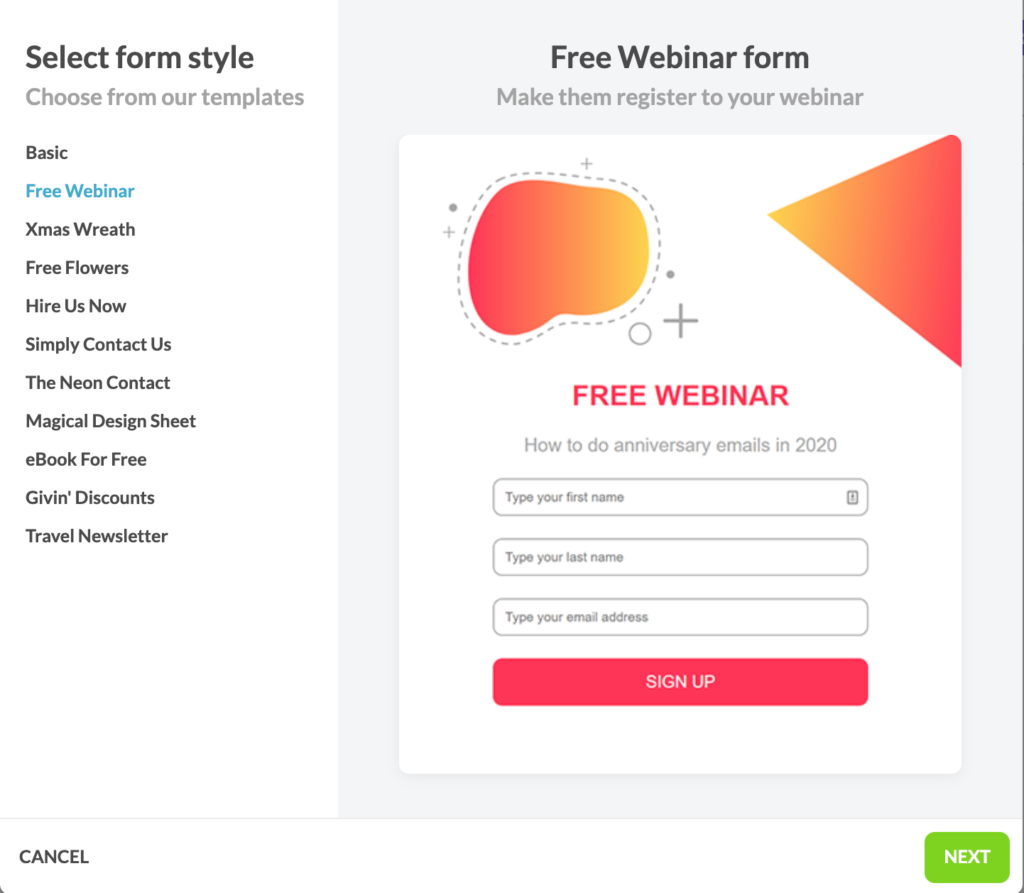 Sign up form templates in Automizy that can be easily customized
