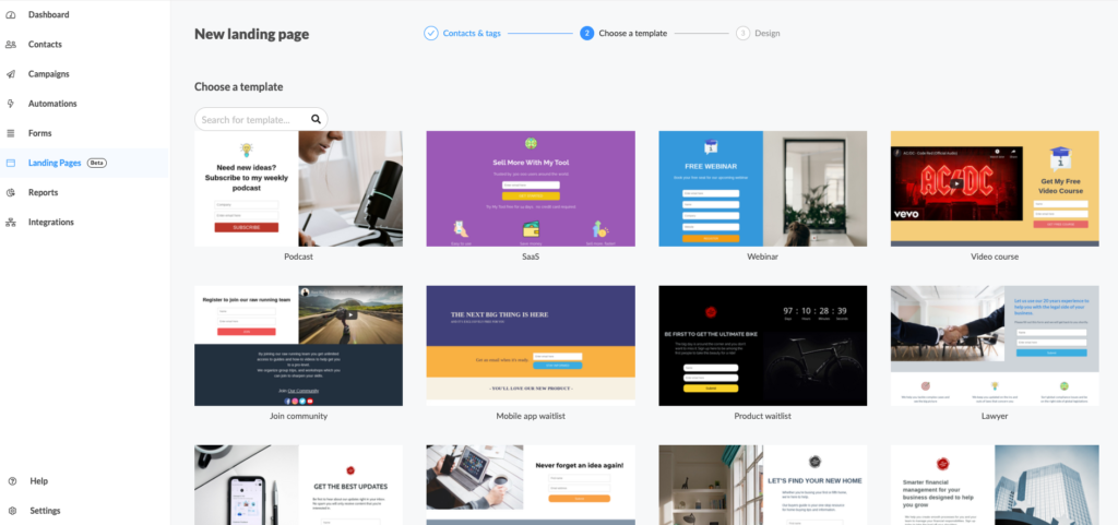 B2B landing page templates available in Automizy