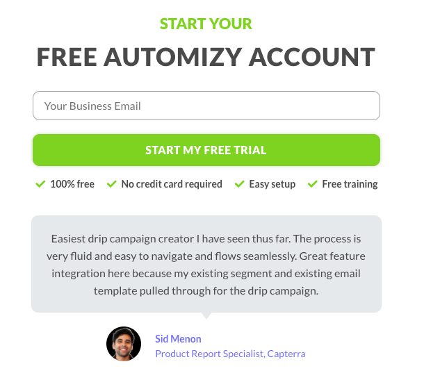 Automizy trial users' lead generation form example
