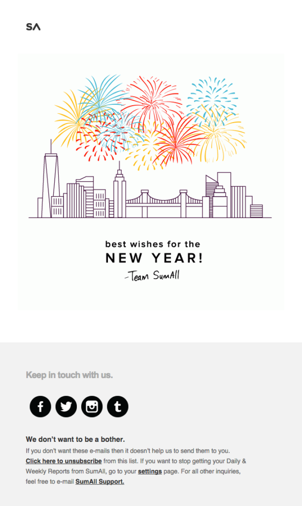 SumAll holiday email newsletter design